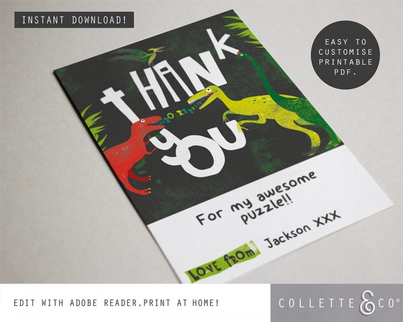 Printable Dinosaur Party Thank You Card Collette and Co 2