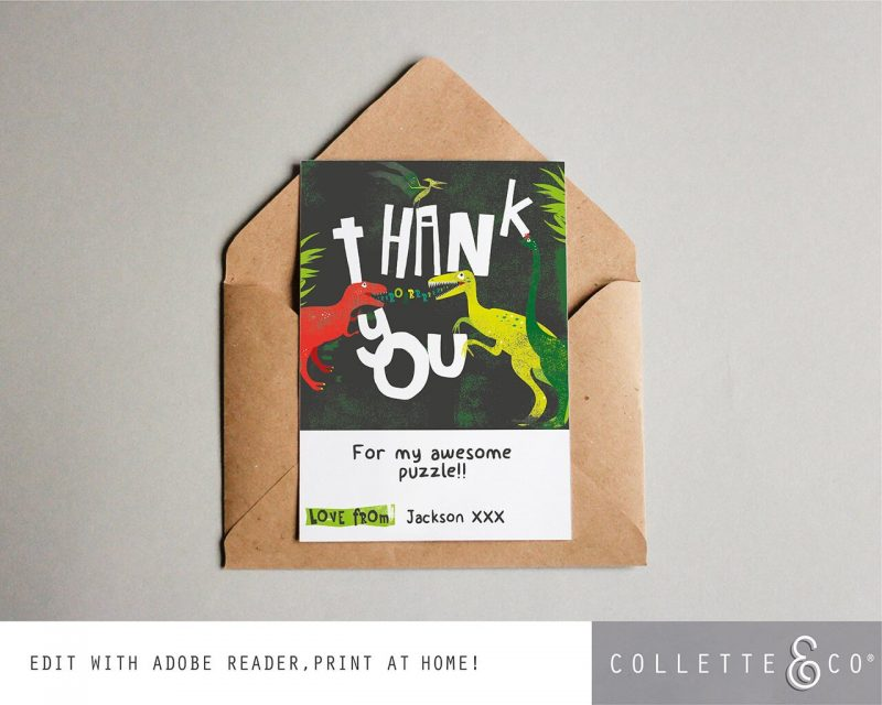 Printable Dinosaur Party Thank You Card Collette and Co 3