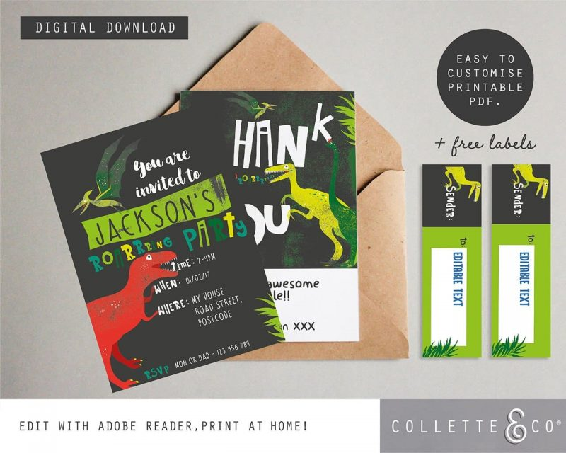 Printable Dinosaur stationery pack Collette and Co6