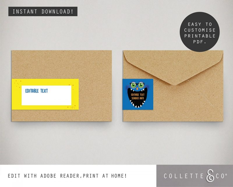 Printable Monster Party Address Labels Editable Collette and Co 1
