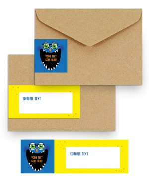 Printable Monster Party Address Labels Editable Collette and Co 2