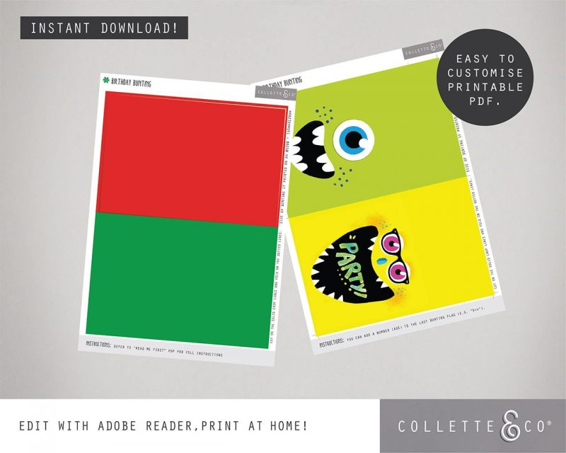 Printable Monster Party Birthday Bunting Editable Collette and Co 1
