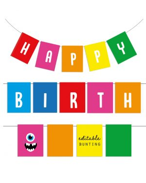 Printable Monster Party Birthday Bunting Editable Collette and Co 3