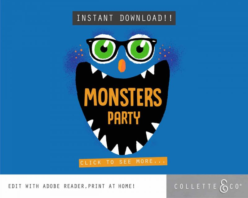 Printable Monster Party Decorations Collette and Co1