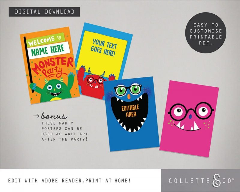 Printable Monster Party Decorations Collette and Co11