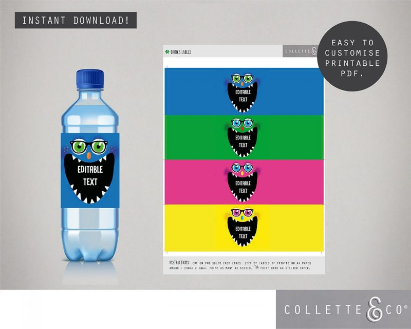 Printable Monster Party Drinks Label Editable Collette and Co 1