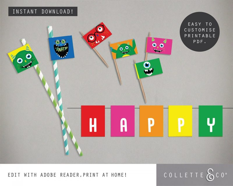 Printable Monster Party Food Flags Straw Flags Editable Collette and Co 3