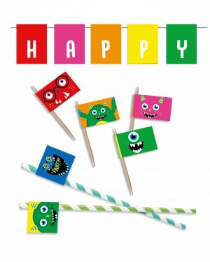Printable Monster Party Food Flags Straw Flags Editable Collette and Co 4