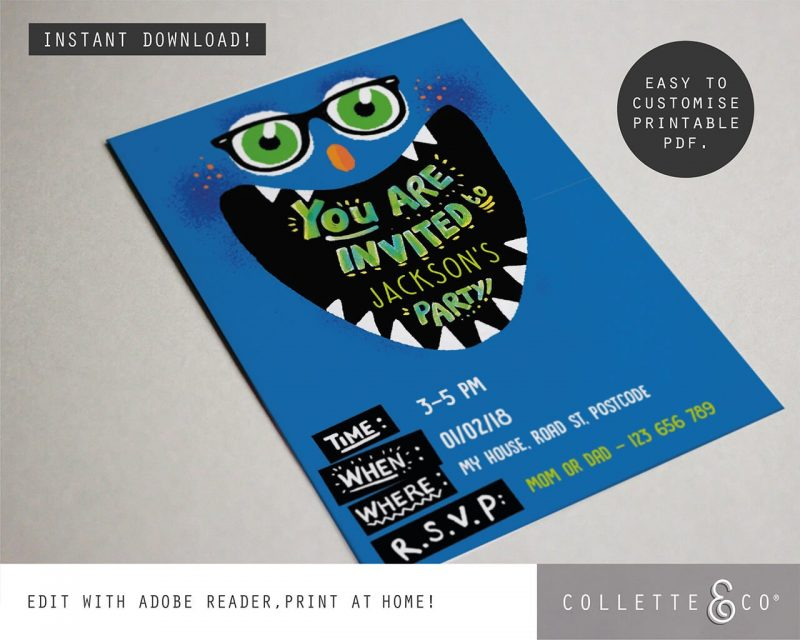 Printable Monster Party Invitation Editable Collette and Co 2