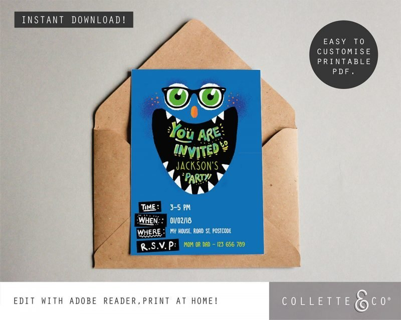 Printable Monster Party Invitation Editable Collette and Co 3