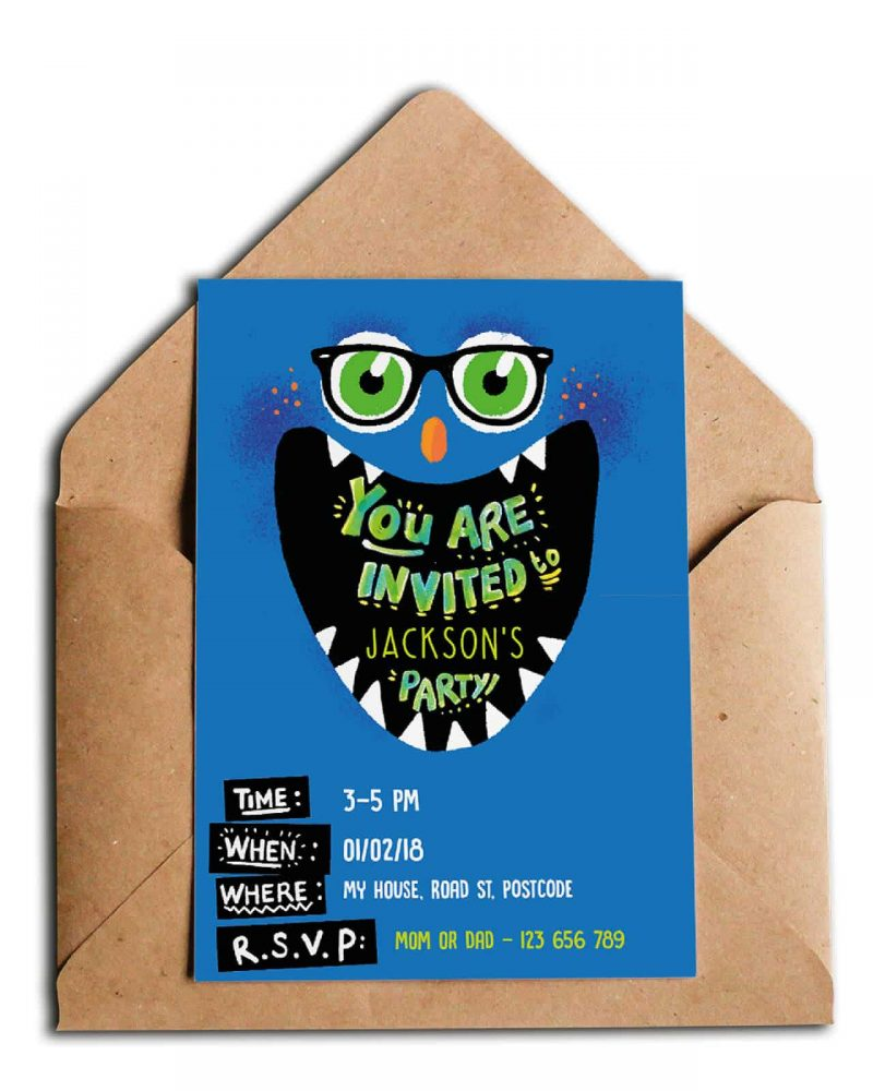Printable Monster Party Invitation Editable Collette and Co 4