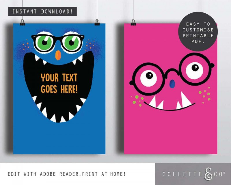 Printable Monster Party Poster Pack x4 Editable Editable Collette and Co 1