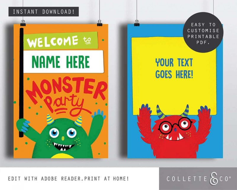 Printable Monster Party Poster Pack x4 Editable Editable Collette and Co 2