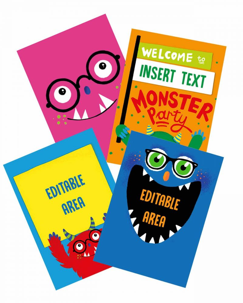 Printable Monster Party Poster Pack x4 Editable Editable Collette and Co 4