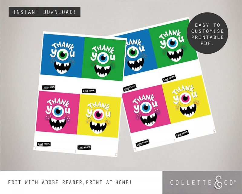 Printable Monster Party Thank You Card Editable Collette and Co 1