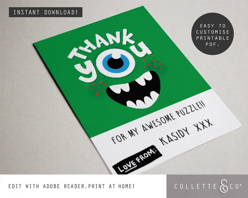 Printable Monster Party Thank You Card Editable Collette and Co 2