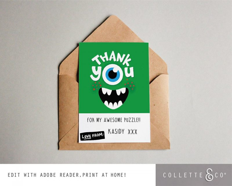 Printable Monster Party Thank You Card Editable Collette and Co 3