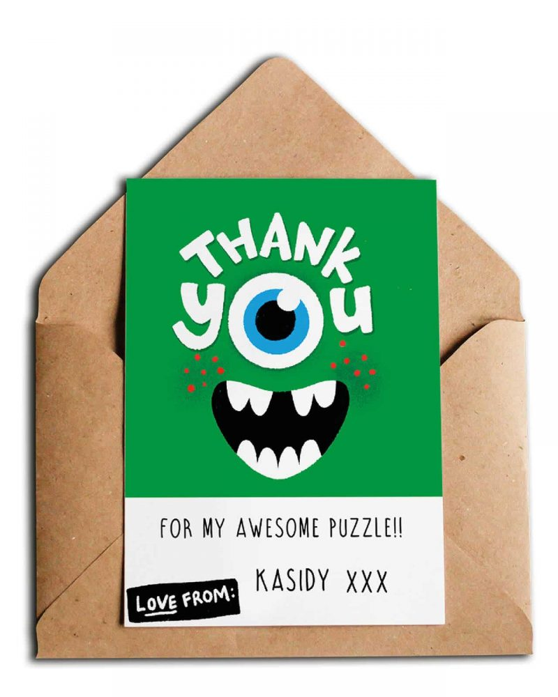 Printable Monster Party Thank You Card Editable Collette and Co 4