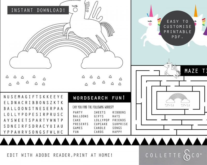 Printable Unicorn Party Activity Sheets Coloring In Editable Collette and Co 2