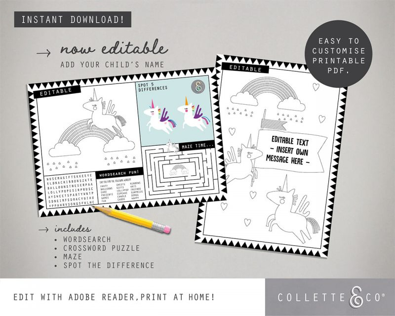 Printable Unicorn Party Activity Sheets Coloring In Editable Collette and Co 4