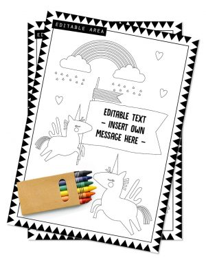 Printable Unicorn Party Activity Sheets Coloring In Editable Collette and Co 5