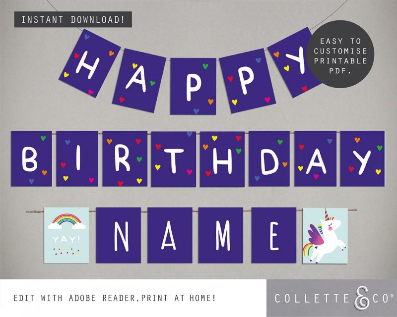 Printable Unicorn Party Birthday Bunting Editable Collette and Co 2