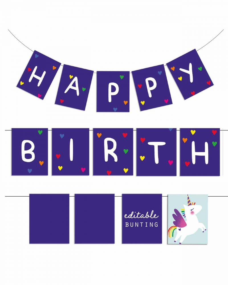 Printable Unicorn Party Birthday Bunting Editable Collette and Co 3