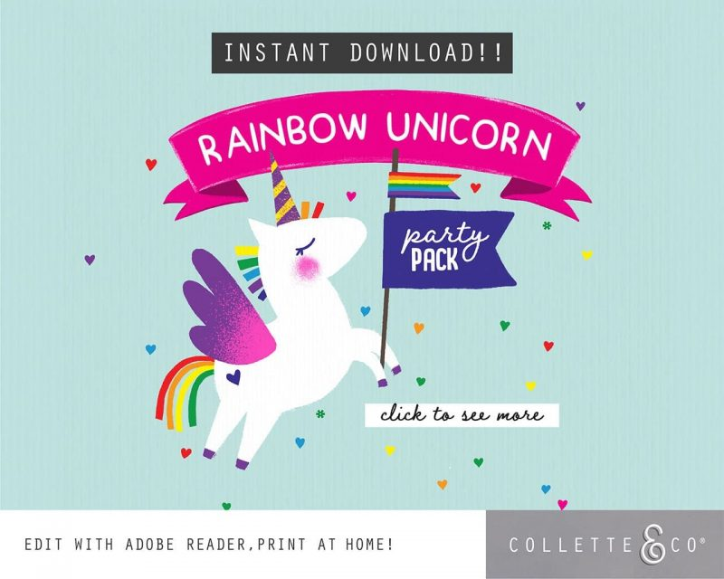 Printable Unicorn Party Decorations Collette and Co22