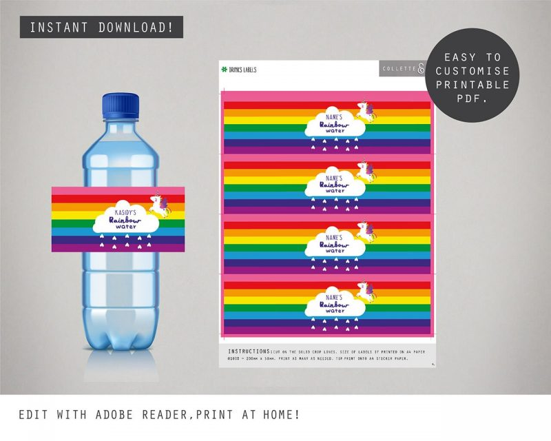 Printable Unicorn Party Drinks Label Editable Collette and Co 2