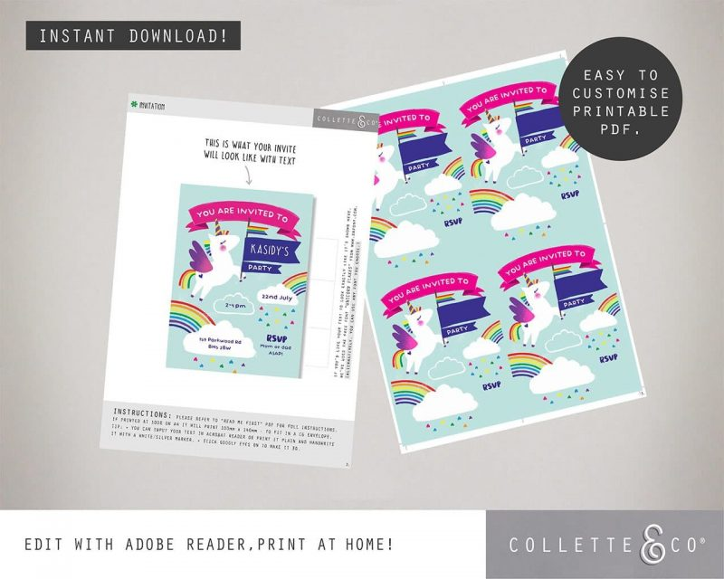Printable Unicorn Party Invitation Editable Collette and Co 1