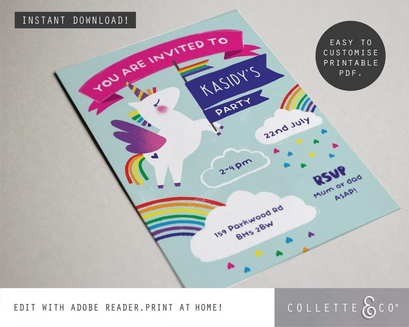 Printable Unicorn Party Invitation Editable Collette and Co 2