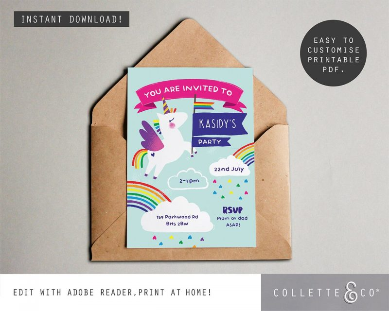 Printable Unicorn Party Invitation Editable Collette and Co 3