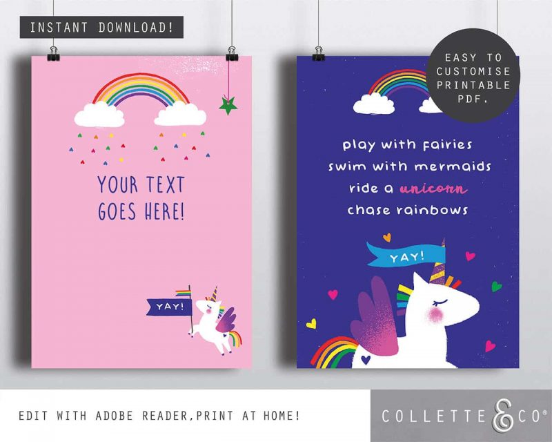 Printable Unicorn Party Poster Pack x4 Editable Collette and Co 1