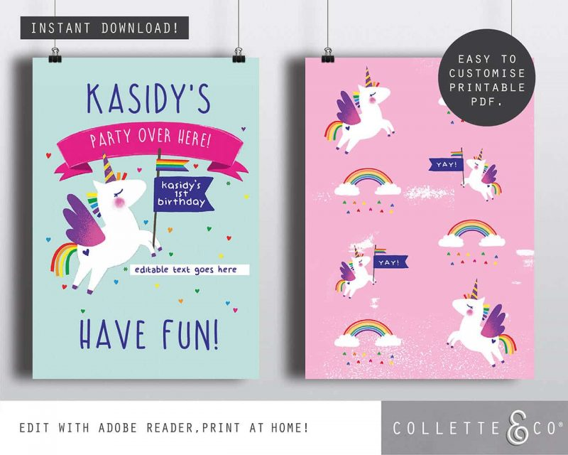 Printable Unicorn Party Poster Pack x4 Editable Collette and Co 2