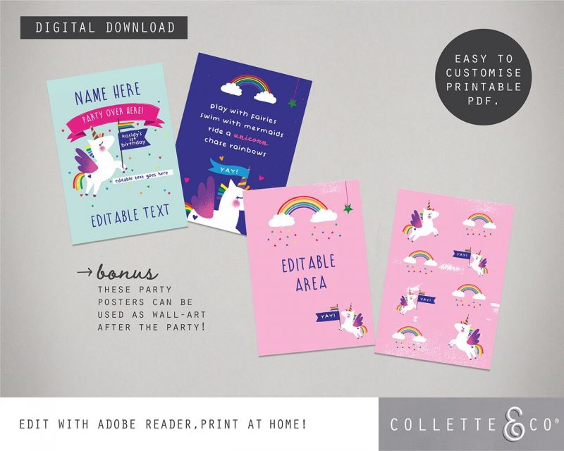 Printable Unicorn Party Poster Pack x4 Editable Collette and Co 3