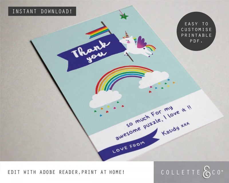 Printable Unicorn Party Thank You Card Editable Collette and Co 2