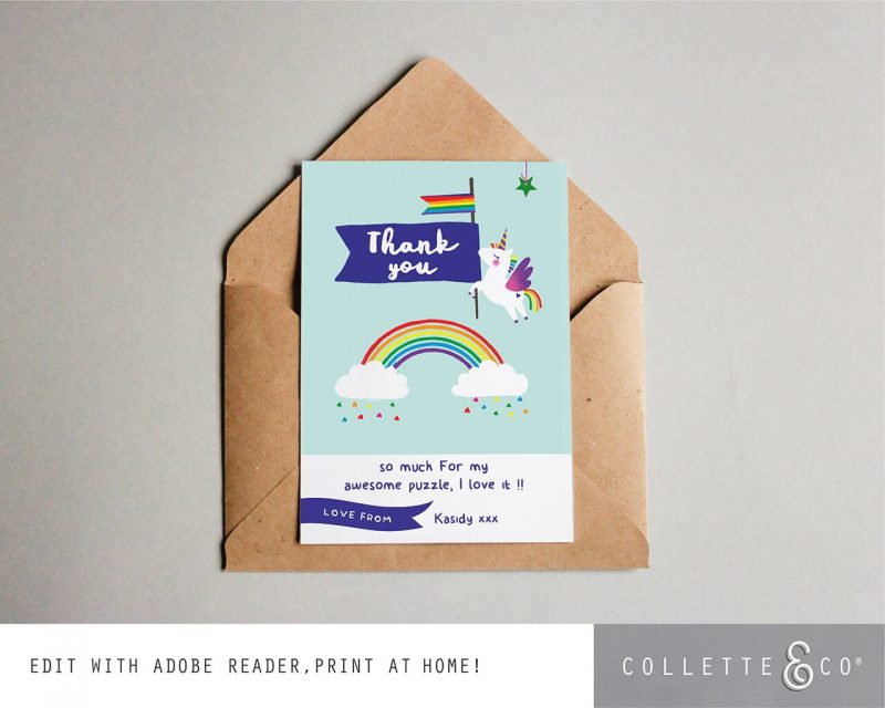 Printable Unicorn Party Thank You Card Editable Collette and Co 3