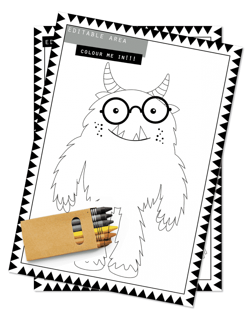 PrintableMonster Party Activity Sheets Coloring In Editable