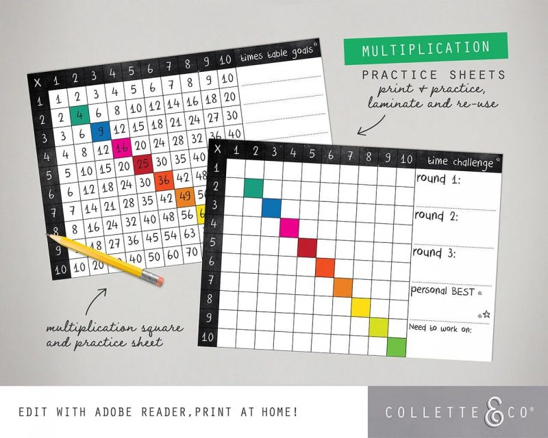 Times Table Square Printable Collette and Co 1