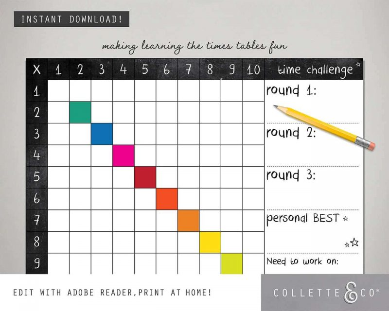 Times Table Square Printable Collette and Co 3