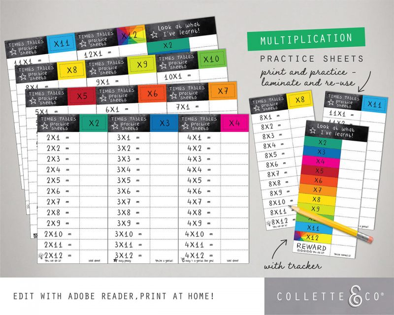 Times Table Worksheets Printable Editable Collette and Co 12