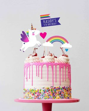 Unicorn Cake Topper Printable Editable Collette and Co 1