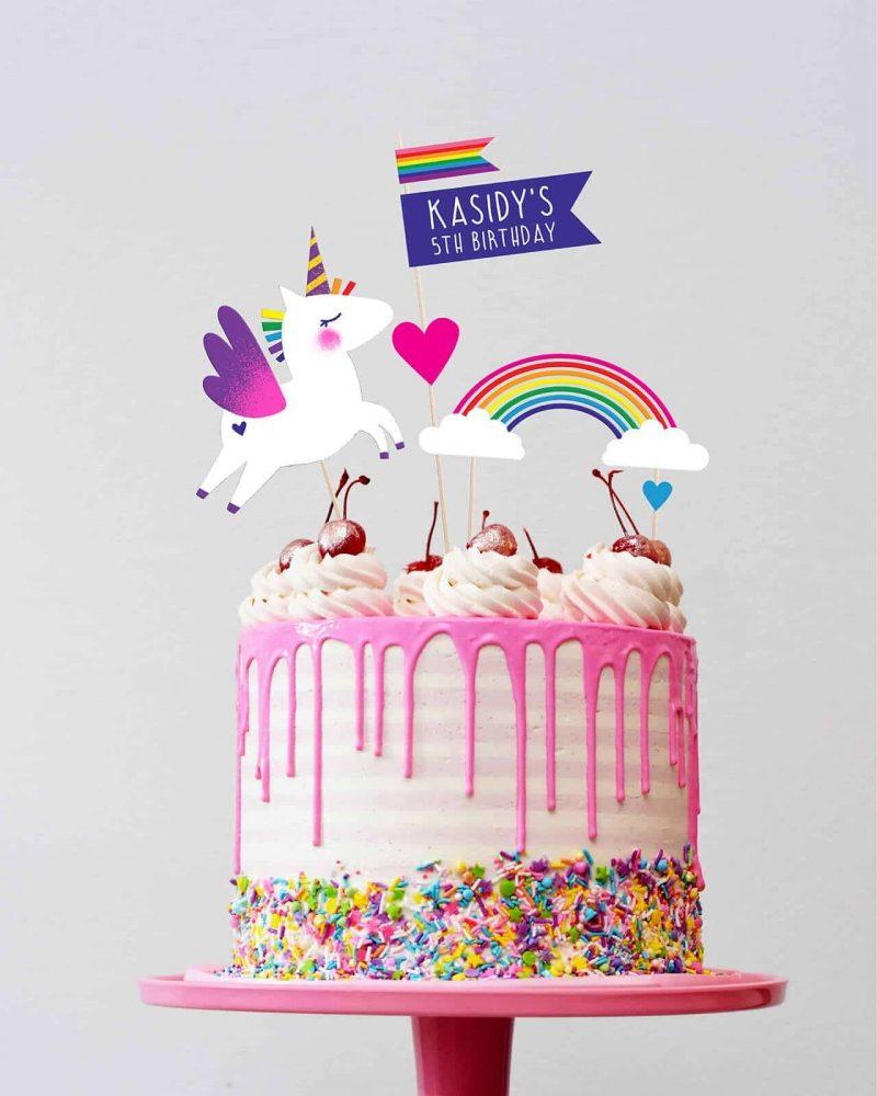 Unicorn Cake Topper Printable Editable Collette and Co 1