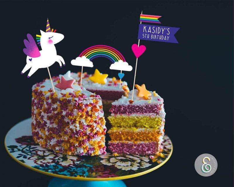 Unicorn Cake Topper Printable Editable Collette and Co 2