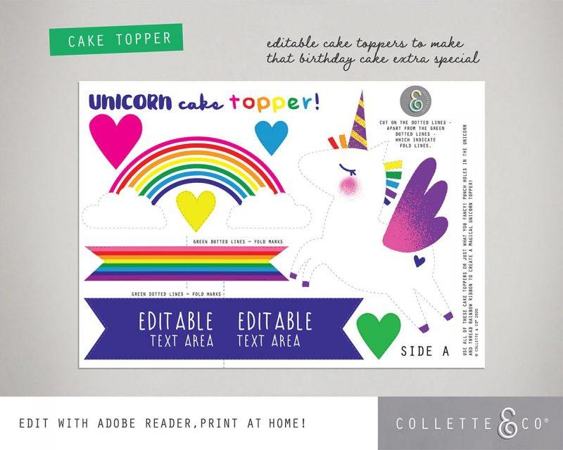 Unicorn Cake Topper Printable Editable Collette and Co 4
