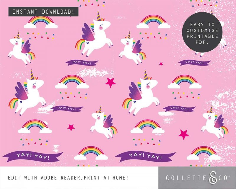Unicorn Party Favor Giftwrap Bundle Collette and Co 1