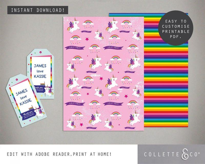 Unicorn Party Favor Giftwrap Bundle Collette and Co 5