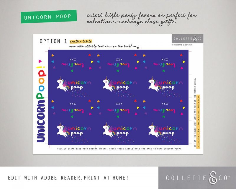 Unicorn Poop Printable Labels Editable Dark Collette and Co 6