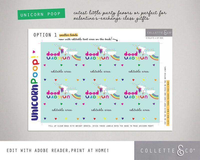 Unicorn Poop Printable Labels Editable Light Collette and Co 6