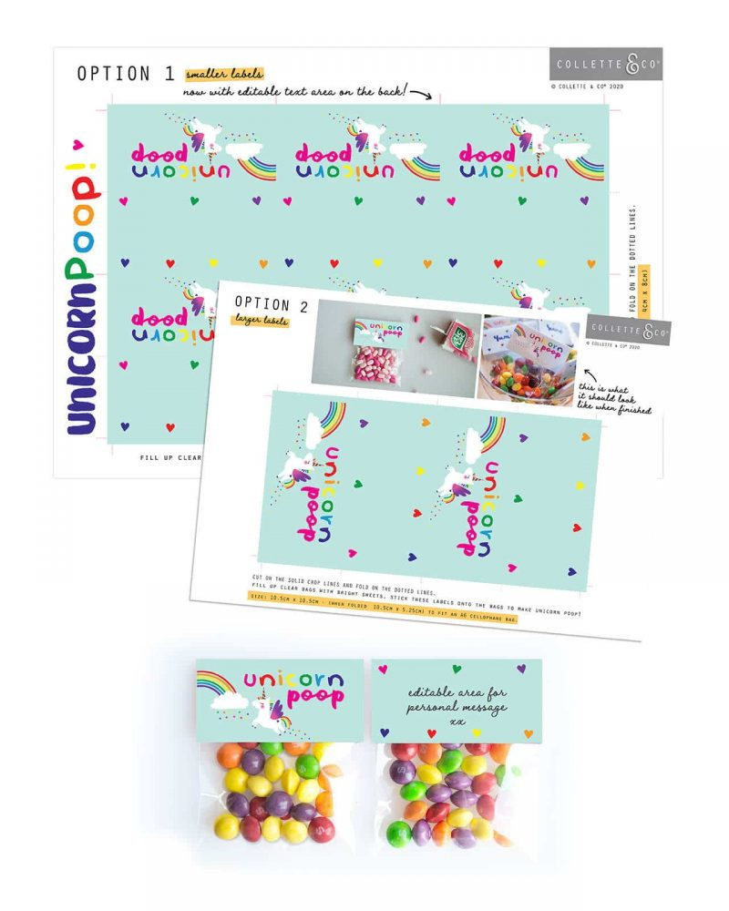 Unicorn Poop Printable Labels Editable Light Collette and Co 7